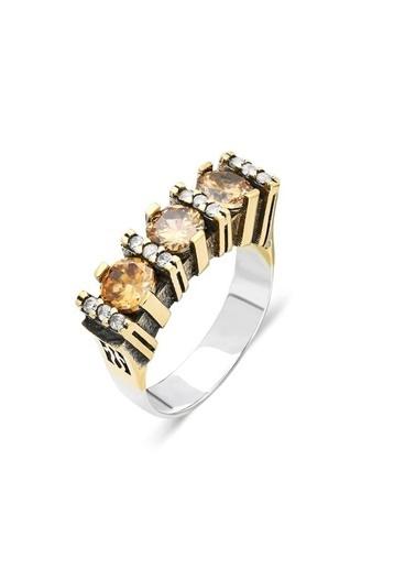 Aykat Sitrin Taşlı Kadın Yüzük Otantik Gümüş Bayan Yüzüğü Yzk-295 Gümüş